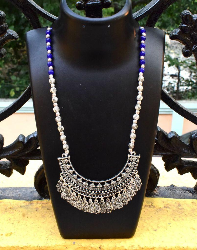 German Silver Necklace/Pendant-Blue
