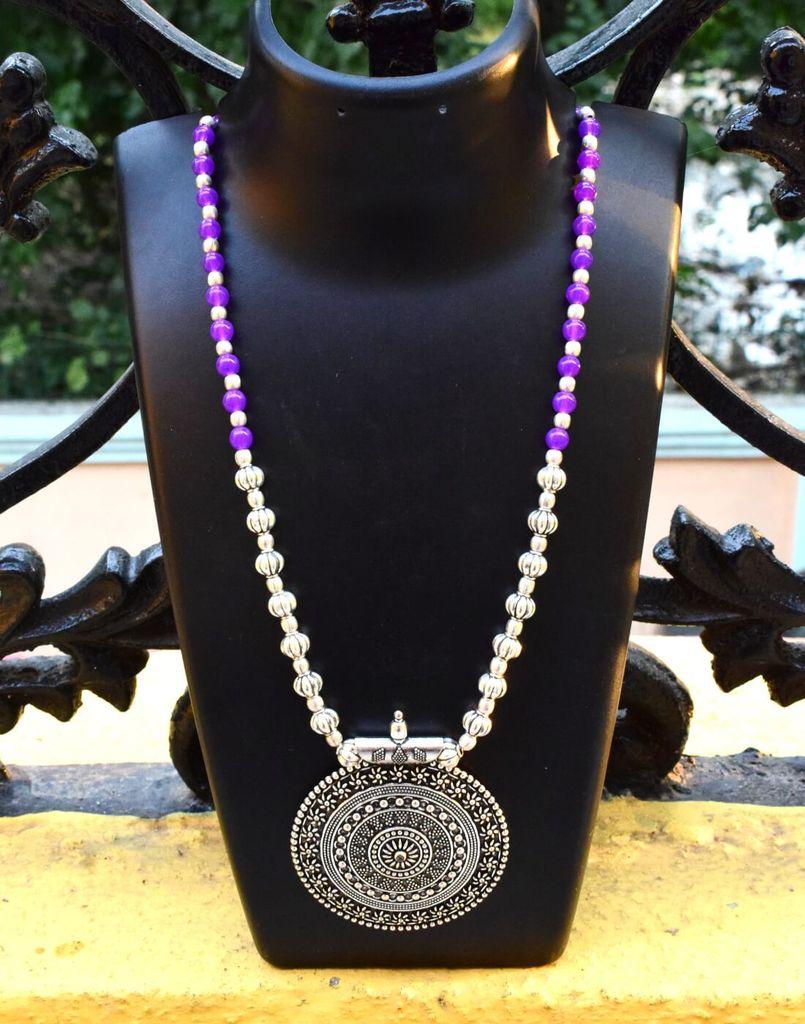 German Silver Necklace Round shape Pendant-Purple
