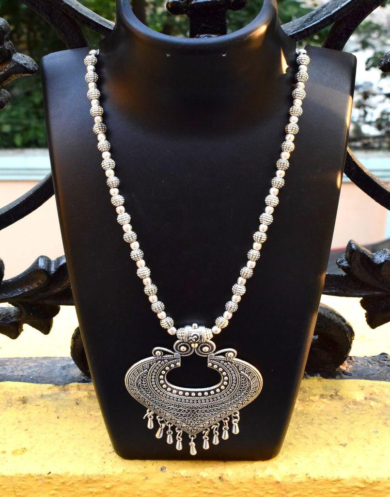 German Silver Necklace Heart shape Pendant-Silver