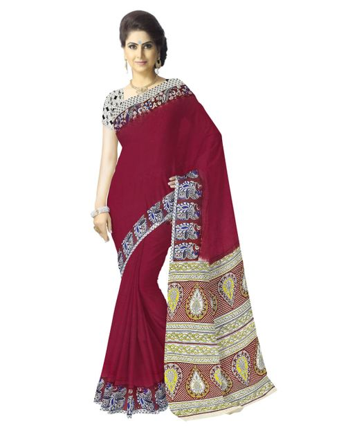 Kalamkari Saree in Cotton-Maroon
