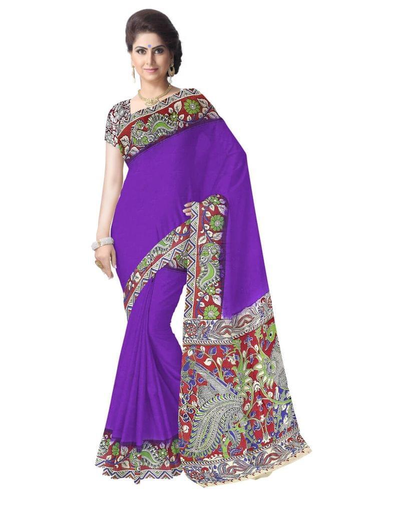 Kalamkari Saree in Cotton-Blue 1
