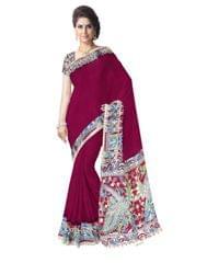 Kalamkari Saree in Cotton-Maroon 1