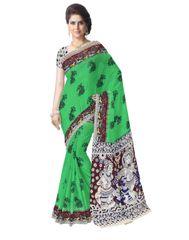 Kalamkari Saree in Cotton-Green 1