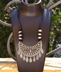 Threaded German Silver Necklace Moon Shape Pendant-Black
