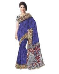 Kalamkari Saree in Cotton-Blue 2