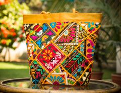 Handmade KutchWork Vintage Handbag in Silk-Yellow