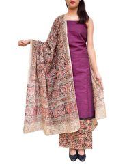 Kalamkari Block Print Cotton Suit-Dark Fuchsia