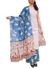 Kalamkari Block Print Cotton Suit-Offwhite&Blue