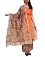Kalamkari Block Print Cotton Suit-Orange