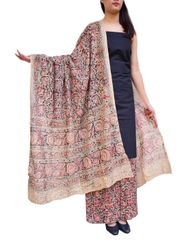 Kalamkari Block Print Cotton Suit-Black