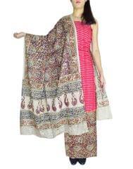 Ikat & Kalamkari Block Print Cotton Suit-Red