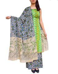 Ikat & Kalamkari Block Print Cotton Suit-Light Green 1