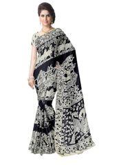 Kalamkari Silk Saree  -Black&White