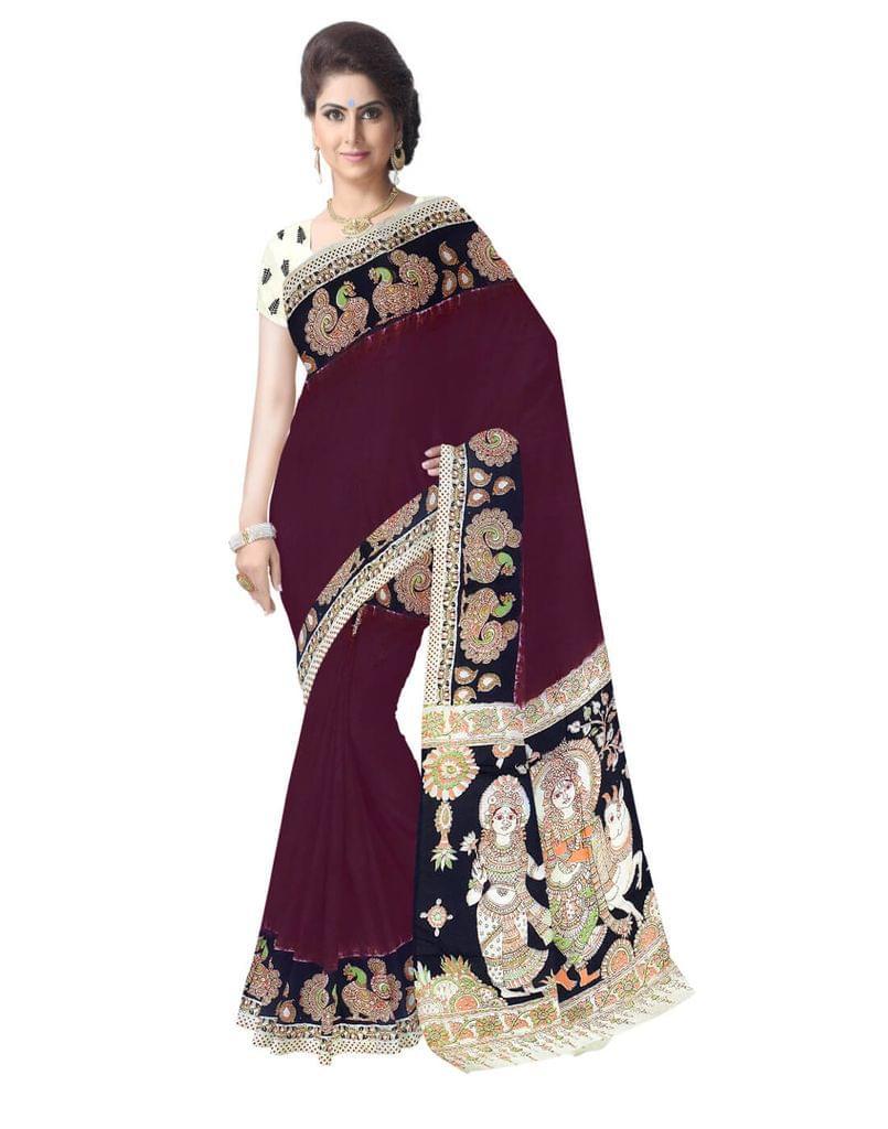 Kalamkari Silk Saree  -Brown