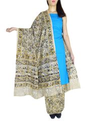 Kalamkari Block Print Cotton Suit-Turquoise