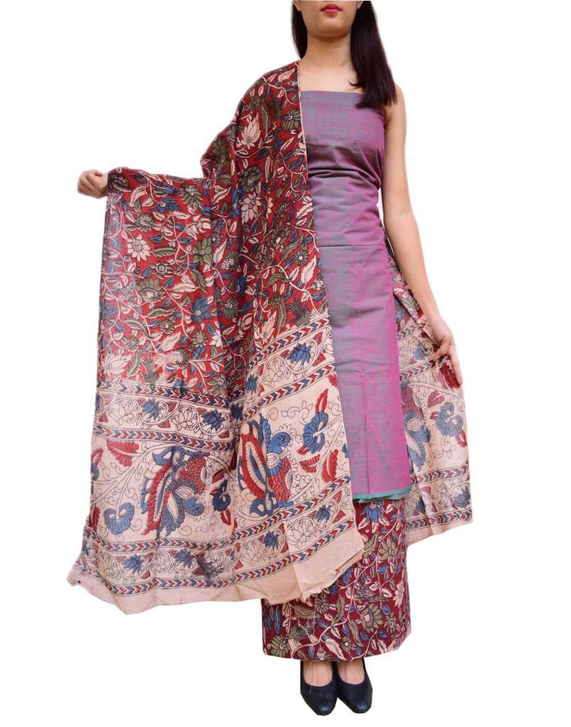 Kalamkari Block Print Cotton Suit-Multicolor