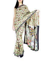 Blockprint Saree in Mal Cotton with Kalamkari Pallu & Istch Border- Floral Pattern Multicolor