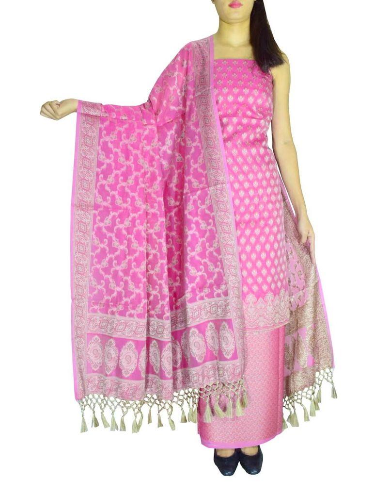 Benarasi Jamdani Brocade Suit in Silk-Cotton-Hot Pink
