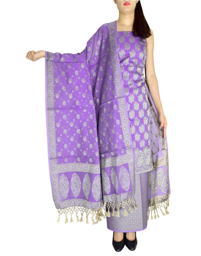 Benarasi Jamdani Brocade Suit in Silk-Cotton-Purple