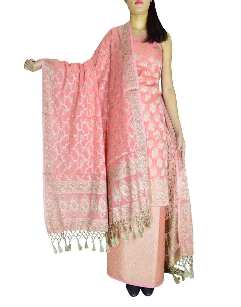 Benarasi Jamdani Brocade Suit in Silk-Cotton-Peach