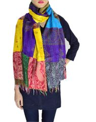 Reversible Patchwork Kantha Stole in Cotton Silk- Pattern