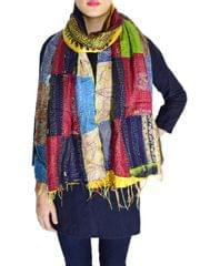 Reversible Patchwork Kantha Stole in Cotton Silk- Pattern 1