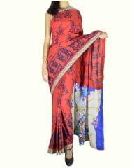 Blockprint Saree in Mal Cotton with Kalamkari Pallu & Istch Border- Floral Pattern Red 1