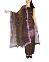 Unstitched Phulkari Suit Piece Cotton Silk-Dark Brown