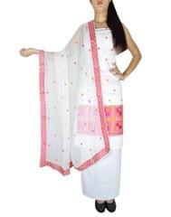Unstitched Phulkari Suit Piece Cotton Silk-Pink&Orange