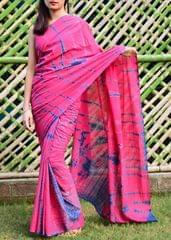 Cotton Shibori Saree-Pink&Blue