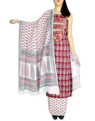 Bagh Print Unstitched Cotton Salwar Suit-White&Maroon