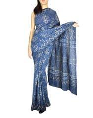 Cotton Dabu Print Mal Cotton Saree- Indigo Blue