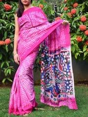 Cotton Shibori Kalamkari Saree-Pink
