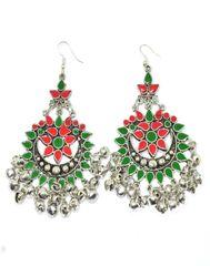 Afghani Earrings in Alloy Metal Meenakari Work-Green&Red