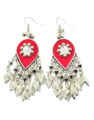 Oxidized Metal Earring-Red