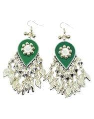 Oxidized Metal Earring-Green