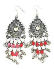 Meenakari Work Afghani Earrings in Alloy Metal- White&Red