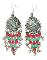Meenakari Work Afghani Earrings in Alloy Metal- Green&Red
