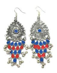 Meenakari Work Afghani Earrings in Alloy Metal- Blue&Red