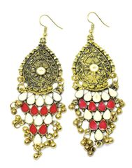 Meenakari Work Afghani Earrings in Alloy Metal- Golden