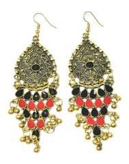 Meenakari Work Afghani Earrings in Alloy Metal- Golden Black&Red