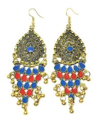 Meenakari Work Afghani Earrings in Alloy Metal- Golden Blue&Red