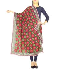Phulkari Work Georgette Dupatta-Brown