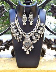 Oxidized Metal Jewellery Set- White Beads 1