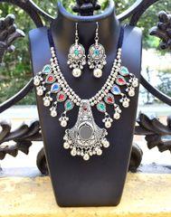 Oxidized Metal Jewellery Set- Multicolor Beads 2