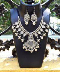 Oxidized Metal Jewellery Set- White Beads 2