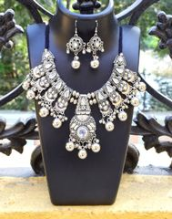 Oxidized Metal Jewellery Set- White Beads 3