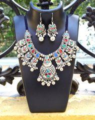 Oxidized Metal Jewellery Set- Multicolor Beads 3