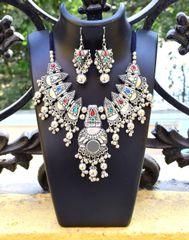 Oxidized Metal Jewellery Set- Multicolor Beads 4