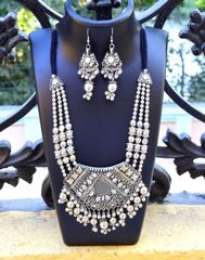 Oxidized Metal Jewellery Set- Mirror Pendant 3